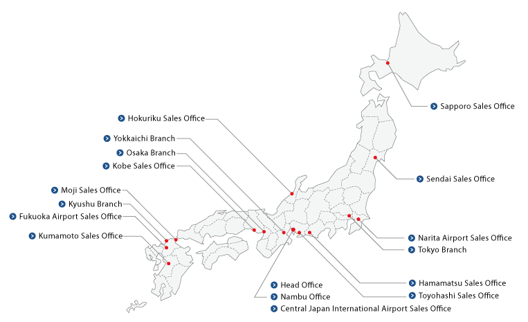 Map Of Locations In Japan Corporate Information Meiko Trans